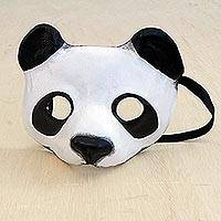 Leather mask, 'Panda Face' - Handcrafted Leather Panda Mask from Brazil