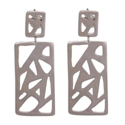 Rectangular Silver Dangle Earrings from Brazil