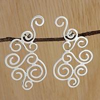 Silver drop earrings,