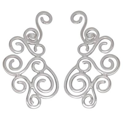 Spiral Motif Silver Drop Earrings Crafted in Brazil