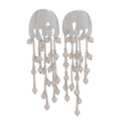 Cultured Pearl and Silver Waterfall Earrings from Brazil