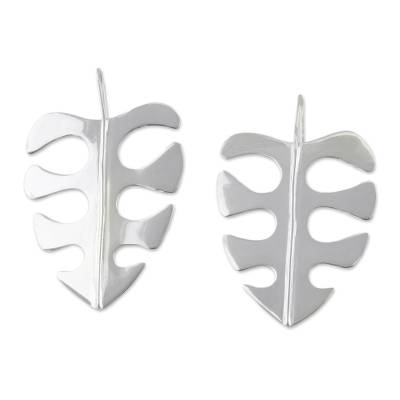 High-Polish Leaf-Shaped Silver Drop Earrings from Brazil