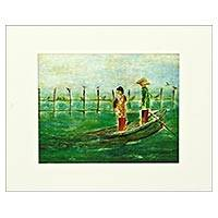 Giclee print on card stock, 'Return from Work' - Brazilian Giclee Print on Card Stock of Japanese Fishermen
