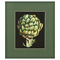 Giclee print on card stock, 'Artichoke' - Brazilian Signed Vegetable Theme Giclee Print on Paper