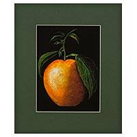 Giclee print on card stock, 'Orange' - Signed Hyper-Real Fruit Theme Giclee Print on Paper