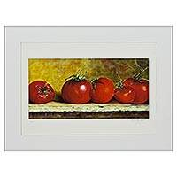 Giclee print on card stock, 'Ripe Tomatoes' - Signed Hyper-Real Tomato Theme Giclee Print on Paper
