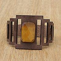 Tiger's eye wristband bracelet, 'Espresso and Honey' - Art Deco Brown Leather Wristband Bracelet with Tiger's Eye