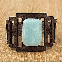 Amazonite wristband bracelet, 'Espresso and Water' - Rectangular Amazonte Wristband Bracelet from Brazil