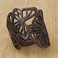 Leather wristband bracelet, 'Brazilian Butterfly in Brown' - Butterfly Leather Wristband Bracelet in Brown from Brazil