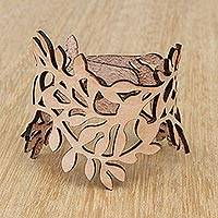 Leather wristband bracelet, 'Brazilian Foliage in Almond' - Leafy Leather Wristband Bracelet in Almond from Brazil