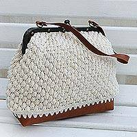 Cotton shoulder bag, 'Ivory Aura' - Crocheted Cotton Shoulder Bag in Ivory from Brazil
