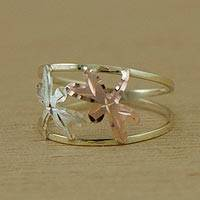 Gold band ring, 'Dragonfly Encounter' - Yellow Rose and White Gold Dragonfly Band Ring from Brazil