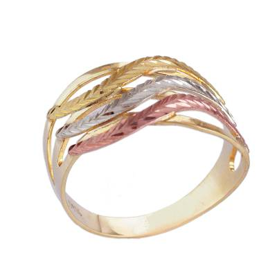 10k Gold Wave Motif Cocktail Ring from Brazil
