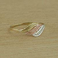 Gold cocktail ring, 'Gleaming Waves' - Handcrafted Wavy 10k Gold Cocktail Ring from Brazil