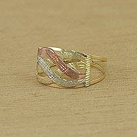 Gold cocktail ring, 'Textured Waves' - Artisan Crafted 10k Gold Cocktail Ring from Brazil
