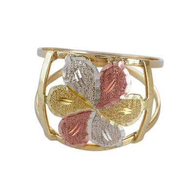 Handcrafted Floral 10k Gold Cocktail Ring from Brazil
