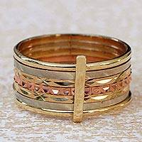 Gold band ring, 'Textured Paths' - Handcrafted 10k Gold Wide Band Ring from Brazil