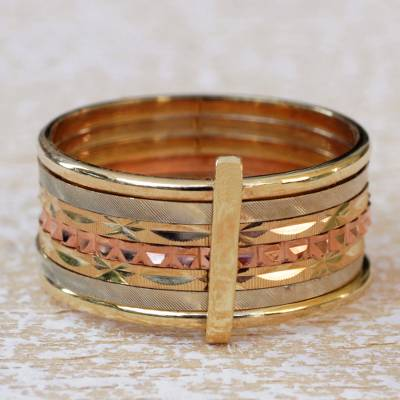 Gold band ring, Textured Paths