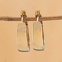 Gold hoop earrings, 'Flash of Sun' - High-Polish 10k Gold Hoop Earrings from Brazil