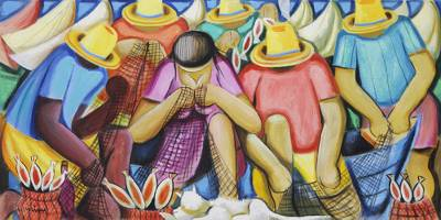 'Fishing as a Family' - Colorful 52-Inch Painting of a Family of Fishermen in Brazil