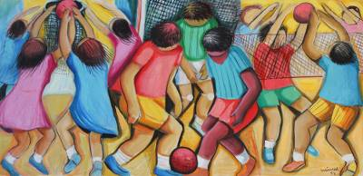 'Children Playing' - Naif Painting in Jewel Colors of Children Playing Ball