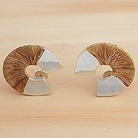 Silver and natural fiber drop earrings,
