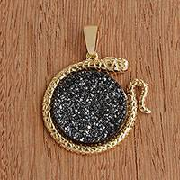 Gold plated drusy agate pendant, 'Serpent Moon' - Gold Plated Drusy Snake Pendant from Brazil