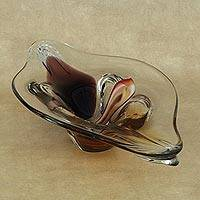Handblown art glass centerpiece, 'Clear Canoe' - Handblown Art Glass Centerpiece Crafted in Brazil