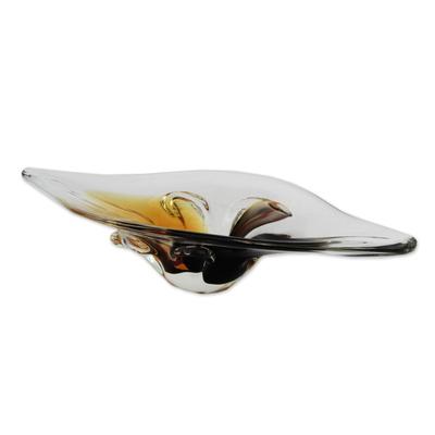 Handblown Art Glass Centerpiece Crafted in Brazil