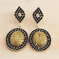 Gold plated golden grass dangle earrings, 'Sun Worship' - Golden Grass and Black Rhinestone Dangle Post Earrings