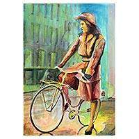 'Pedaling' - Watercolor on Paper Painting of Lady on Bicycle from Brazil