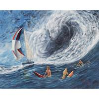 'The Blow' - Signed Surrealist Painting of Surfers from Brazil