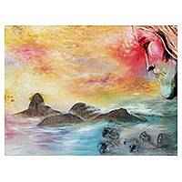 'Blessing' - Signed Expressionist Painting of Sugarloaf Hill from Brazil