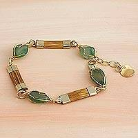 Gold plated golden grass link bracelet, 'Harvest Bounty' - Golden Grass and Green Quartz Link Bracelet