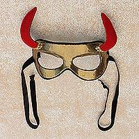 Polyester mask, 'Golden Devil' - Handcrafted Polyester Devil Mask from Brazil