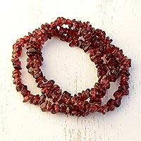 Garnet beaded stretch bracelets, 'Garnet Glory in Red' (set of 3) - Red Garnet Beaded Stretch Bracelets (Set of 3)