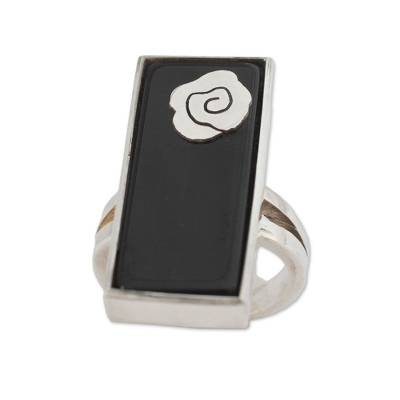 Black Agate Ring with Sterling Silver Rose Accent