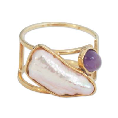Amethyst and Cultured Pearl Gold Ring