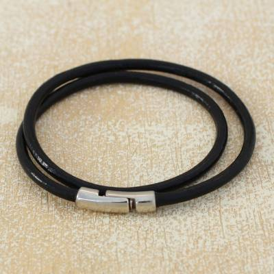 Mens leather wrap bracelet, Urban Confidence in Black