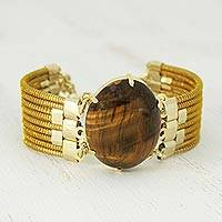 Gold plated tiger's eye and golden grass pendant bracelet, 'Tiger Fire' - Tiger's Eye and Golden Grass Wristband Bracelet