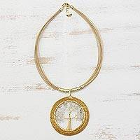 Gold plated quartz and golden grass pendant necklace, 'Ethereal Tree' - Quartz Tree and Golden Grass Circular Pendant Necklace