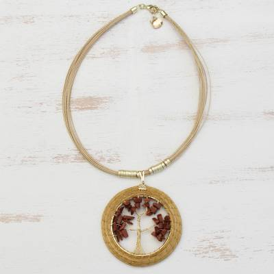 Gold plated sunstone and golden grass statement necklace, 'Autumn Foliage' - Sunstone Tree and Golden Grass Circular Statement Necklace