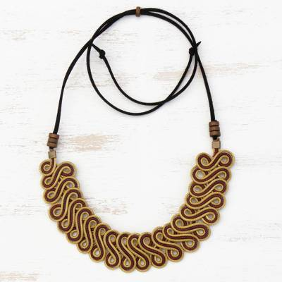Gold plated golden grass pendant necklace, 'Winding Vine' - Golden Grass Statement Necklace with Adjustable Cord