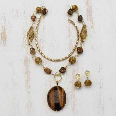 Gold plated tiger's eye and golden grass jewelry set, 'Earth Lode' - Tiger's Eye and Golden Grass Necklace and Earring Set