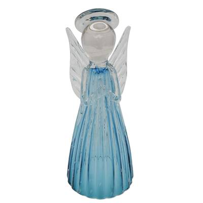 Art glass sculpture, 'Blue Angel' (14 inch) - Brazilian Handcrafted Angel Art Glass Sculpture (14 Inch)