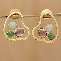 Gold multi-gemstone drop earrings, 'Exquisite Trio' - 18K Gold Amethyst and Multi-Gemstone Drop Earrings