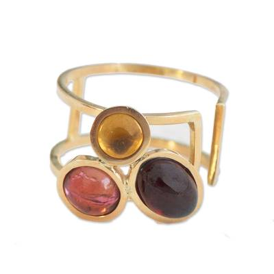 Gemstone Trio Gold Ring in Tourmaline, Garnet and Citrine
