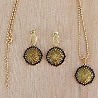 Gold plated golden grass jewelry set, 'Gleaming Buttons' (Brazil)