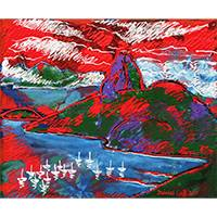 'Sugarloaf Hill in Red' - Expressionist Painting of Sugarloaf Hill in Red from Brazil