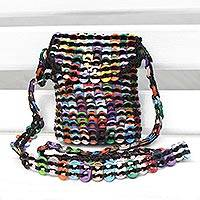 Recycled soda pop-top sling bag, 'Fanciful Colors' - Recycled Multicolor Aluminum Soda Pop-Top Sling Bag